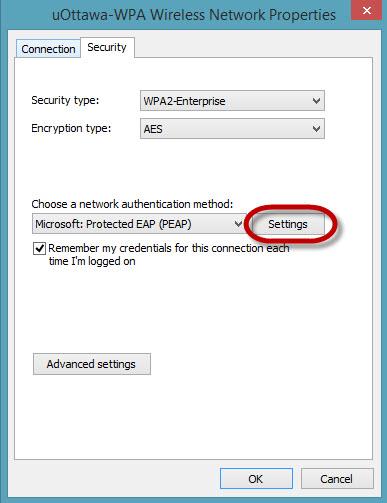 Access uOttawa-WPA wireless with Windows 8, alternative configuration - step 8