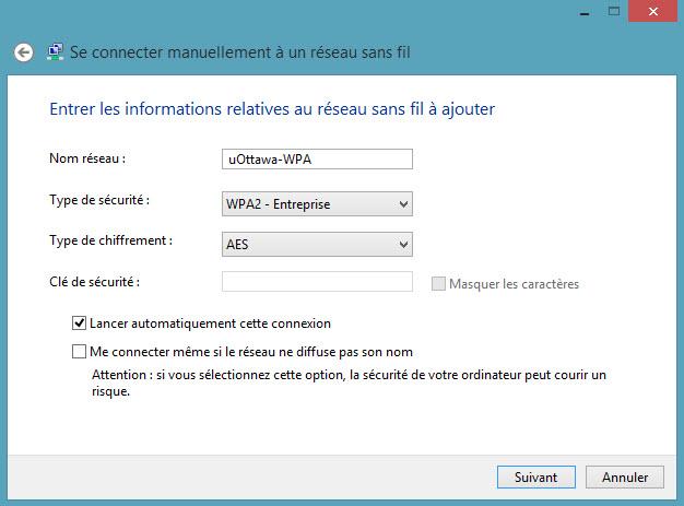 Accéder au réseau sans fil uOttawa-WPA avec Windows 8, configuration alternative - étape 6
