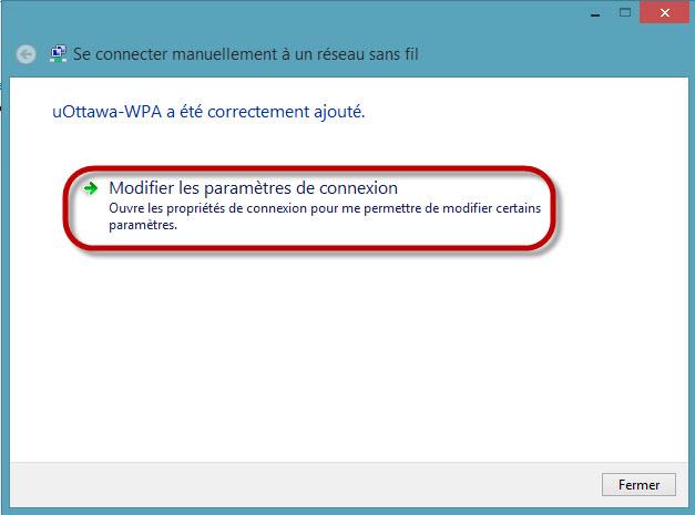 Accéder au réseau sans fil uOttawa-WPA avec Windows 8, configuration alternative - étape 7