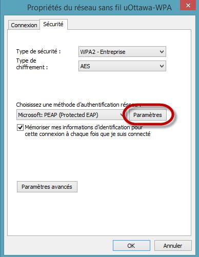Accéder au réseau sans fil uOttawa-WPA avec Windows 8, configuration alternative - étape 8