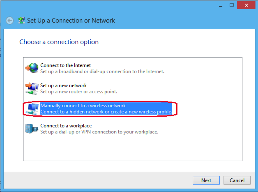 Configuring eduroam for Windows 8, Initial configuration, step 5, Click Next