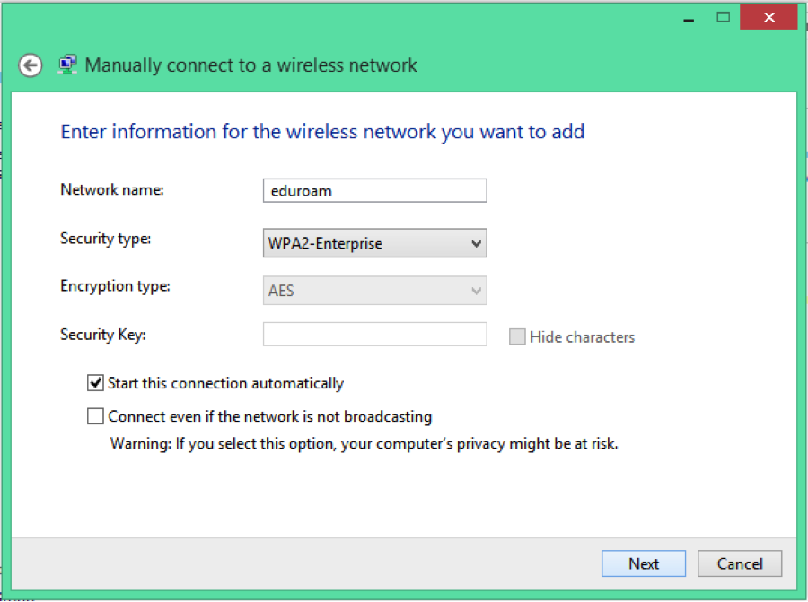 eduroam manual configuration procedures for windows 8 - step 6