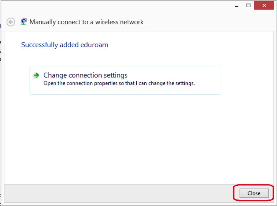 eduroam manual configuration procedures for windows 8 - step 7
