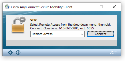 Connecting to uOttawa VPN, step 2, click connect