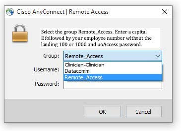 Connecting to uOttawa VPN, step 3, select Remote_access