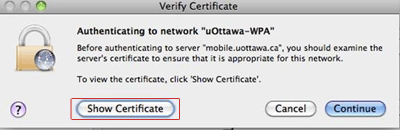 uOttawa-WPA wireless with Apple Mac OS X alternative procedures, screenshot - step 8