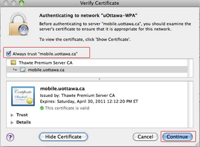 uOttawa-WPA wireless with Apple Mac OS X alternative procedures, screenshot - step 9