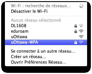Accéder au réseau sans fil uOttawa-WPA avec Apple Mac OS X 10.6 et versions ultérieures capture d'écran - étape 2