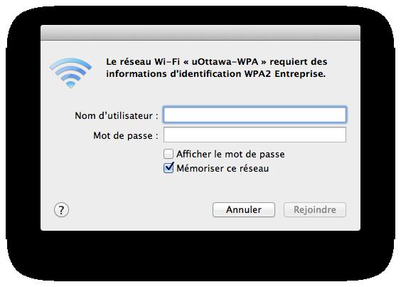 Accéder au réseau sans fil uOttawa-WPA avec Apple Mac OS X 10.6 et versions ultérieures capture d'écran - étape 3