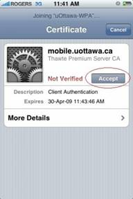 Access uOttawa wireless with your iPhone - step 5