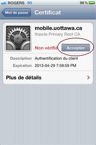 Acceptez le certificat mobile.uottawa.ca - étape 5